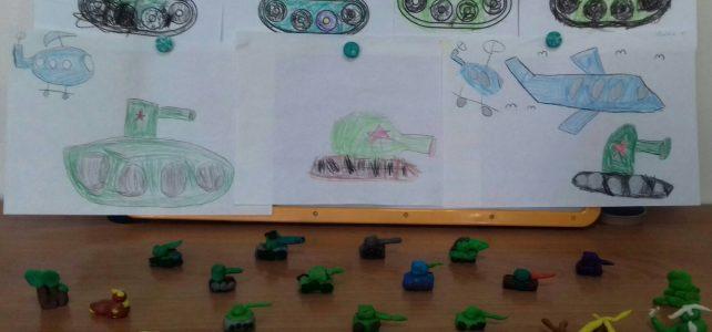 Выставка детского творчества, посвящённого 23 февраля «Военная техника»